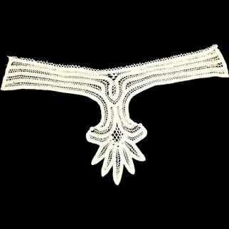 Antique Battenberg Lace Applique Collar Or Dickey