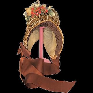 Antique Straw Child's Hat Or Doll Straw Bonnet