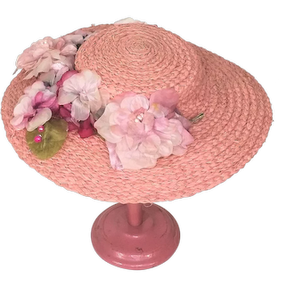 Vintage Pink Straw Hat With Flowers