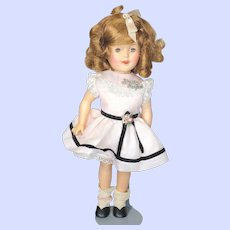 Vintage Shirley Temple 1950's Doll In Tagged Dress With Pin