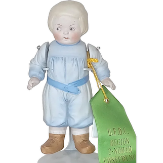Vintage Hertwig All Bisque Boy Doll With Molded Clothes