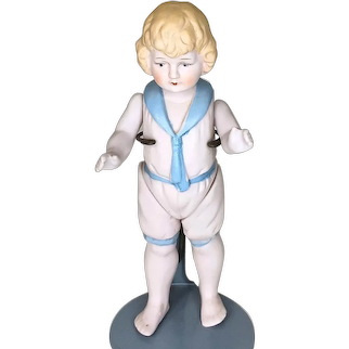 Vintage All Bisque Sailor Boy With Molded Clothes