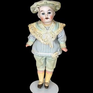 Antique German Bisque Head School Boy Doll