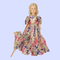 Effanbee Vintage Composition 27 Inch Little Lady Doll With Umbrella