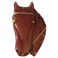 RARE -Bakelite Carved Horse Head Brooch/Pin - BOOK PIECE!