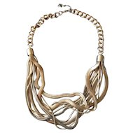 "Vintage 1950's Rare Rolled ""Snake"" Necklace"