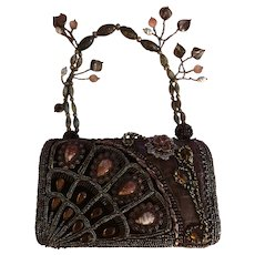 Vintage Designer J & X  NY Unique Boho-Style Beaded Purse