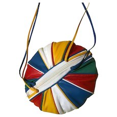 "Rare Vintage 1980's Designer Brio Round ""Balloon"" Colorful Purse"