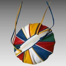 "Rare Vintage 1980's Designer Brio Round ""Balloon"" Colorful Purse"