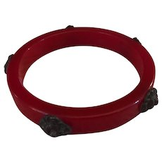 Very Rare Cherry Red Bakelite Bangle with Pewter Lions