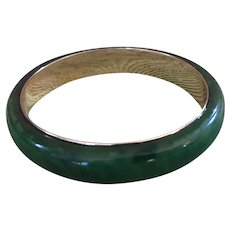 Rare Marbled Spinach Bakelite Bangle - Gold-Toned Banded - Tested