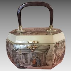 Vintage Handmade Art Decoupage Wooden Box Purse, 8-Sided, Lucite Handle - Signed