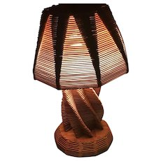 Mid-Century Handmade Popsicle Stick Lamp