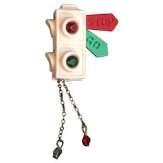 """Rare Vintage Celluloid """"Articulated"""" Stoplight Brooch"""