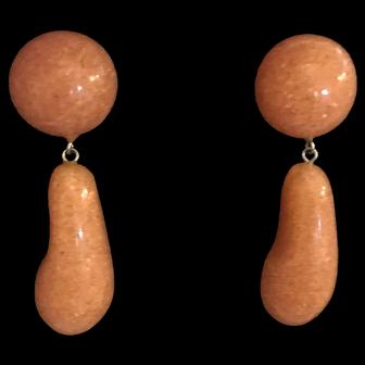 """Unique Vintage Lucite """"Confetti"""" Dangle Earrings"""