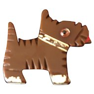 Very Rare Art-Deco Deeply Carved 1930'-1940's Bakelite Scottie-Dog Brooch/Pin - Hand painted - Tested!