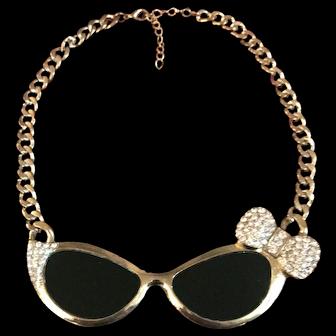 "Rare & Spectacular Vintage Lucite-Lens ""Sunglasses"" Statement-Piece Necklace/Choker"
