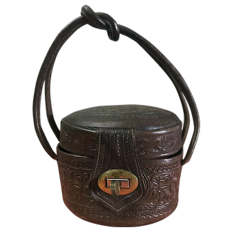 Unique Vintage Leather Hand-Tooled Tiny Bucket Purse - Original and Gorgeous