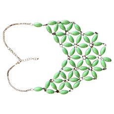 "Gorgeous Green Unique Vintage Lucite ""Flower-Power"" Choker - Big and Beautiful Statement Piece!"