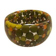 Gorgeous Vintage Designer -Carlos Sobral - Wide Resin Inclusion Bracelet