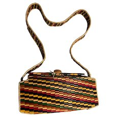 "Vintage 1940's Occupied Japan - ""Signed"" One-of-a-Kind Handmade Bamboo Purse"