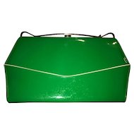 Brilliant Designer Vintage Patent Leather Bright Green Purse