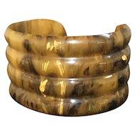 Vintage Bakelite Wide Cuff Bracelet - Molded/Ribbed - Mississippi Mud - TESTED!