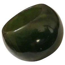 RARE Vintage Bakelite Ring - Marbled Deep Green