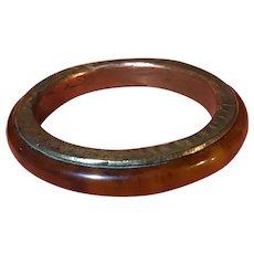 Rare Marbled Amber Bakelite Metal-Wrapped Bracelet/Bangle