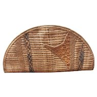 Designer Carlos Falchi Woven Clutch Purse