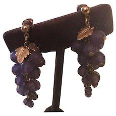 Unique Pierced Earrings - Grape Bunches