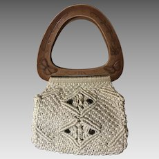 1970's Boho Macrame Butterfly Purse