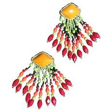 Rare 1980's Beaded Chandelier Earrings