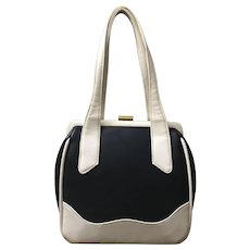 1960's Mid-Mod Color-Block Leather Handbag
