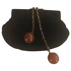 Rare Vintage Black Clutch Purse with Unique Bakelite Chain