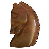 Rare Marbled Bakelite Horse Brooch