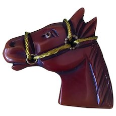 Beautiful Bakelite Bridled Horse Brooch