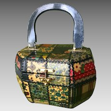 Vintage Decoupage Box Purse with Lucite Handle