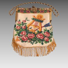 Micro Beaded Purse Featuring Jeweled Frame, Lyre, Sun And Arrow