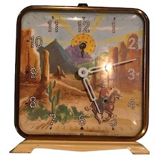 Vintage Roy Rogers And Trigger Ingraham Alarm Clock Western Motion Cowboy And Horse