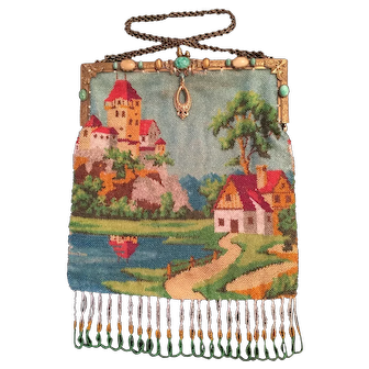 Early Twentieth Century Beaded Purse-Heavily Jeweled Frame-Castle Cottage And Lake