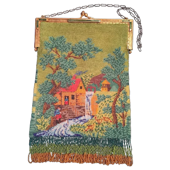 Vintage Scenic Micro Beaded Purse With Jeweled Frame Cottage Waterfall And Mint Condition