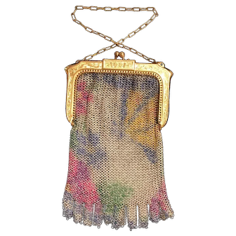 Whiting And Davis Scenic Mesh Purse With Butterfly