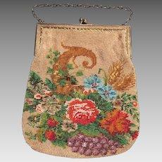 Vintage Scenic Early Twentieth Century Micro Beaded Purse Featuring Flowers And Cornucopia