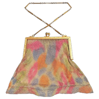 Whiting And Davis Soldered Mesh Purse With Hummingbird