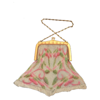 Whiting And Davis Dresden Mesh Purse Flowers In The Field