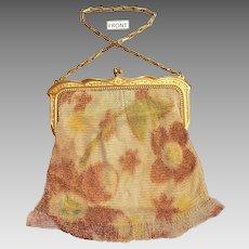 Whiting And Davis Fantastic Autumn Colors Dresden Mesh Purse Flapper Handbag