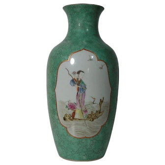 Rare Antique Chinese 'Faux Turquoise' Vase with Ladies (both sides), Guangxu Period (Item B)