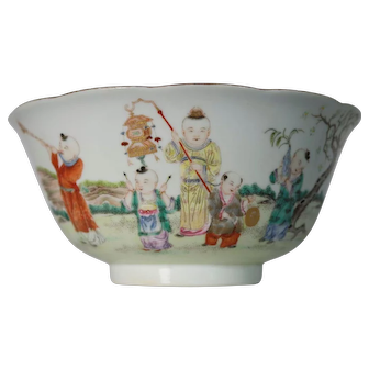 Chinese Famille Rose 'Hundred Boys' Bowl, Republic Period 20th C