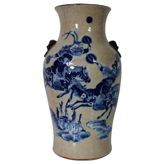 Antique Chinese Crackleware Vase with Warriors, Qing Period 19th C